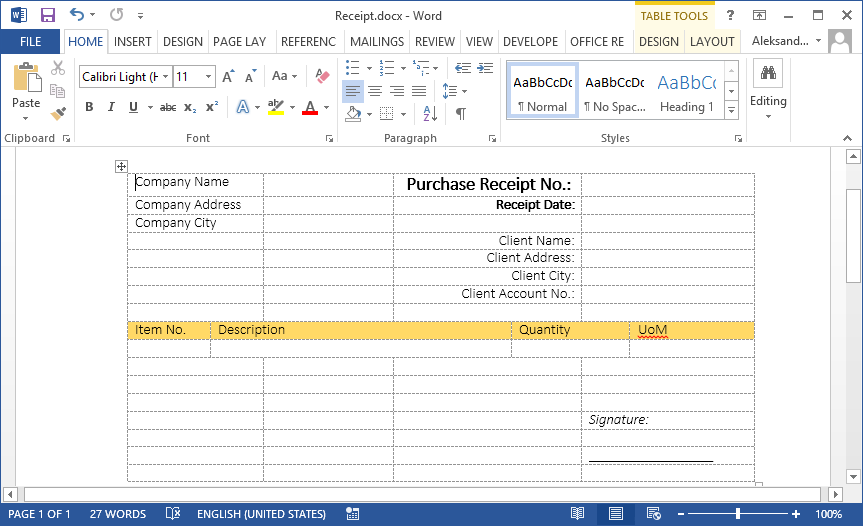 How to create new documents with Word Layout in NAV 2015 (2/3)
