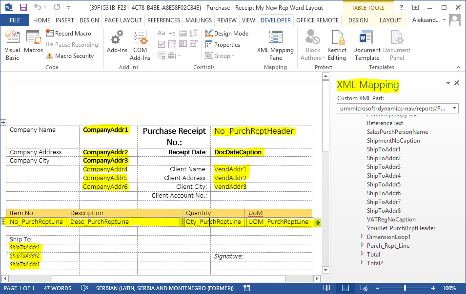 How to create new documents with Word Layout in NAV 2015 (3/3)