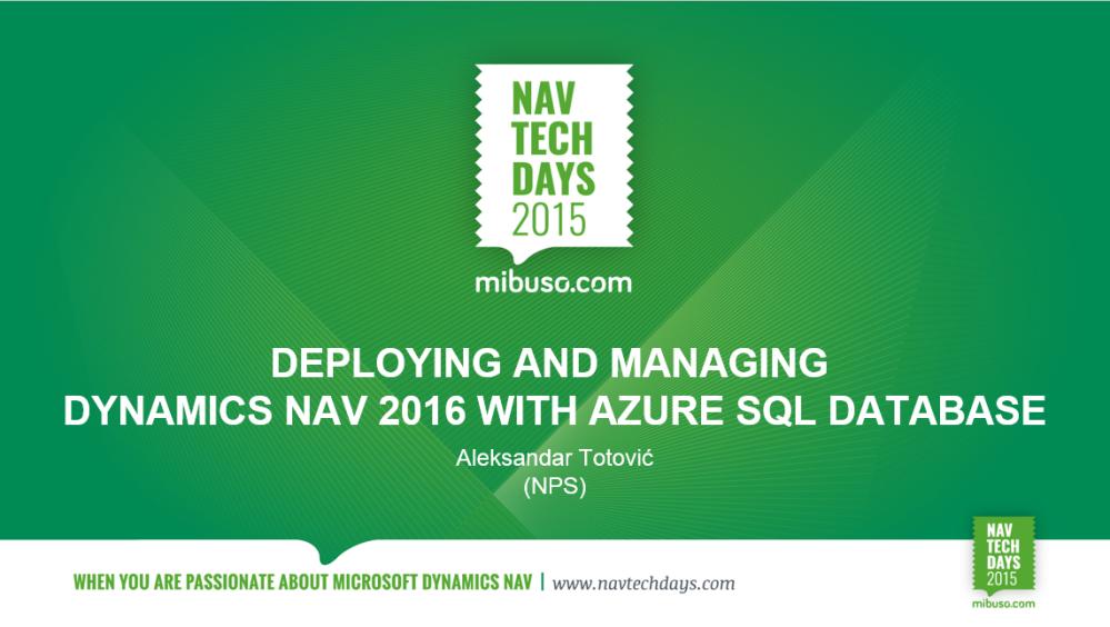 NAV on Azure SQL on NAVTechDays