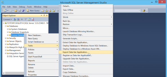 How to Create BACPAC for Azure SQL | Totovic Dynamics Blog